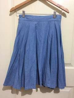 Faux Denim Midi Skirt