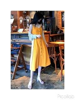 BNWT Mustard Yellow/ Caramel Brown Button Up Front Midi Dress