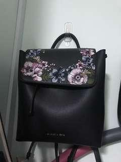 🚚 Charles & Keith Floral Embroidery Bagpack