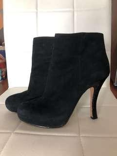 Rosegold Black Suede Booties Size 38.5