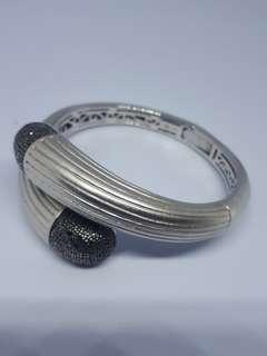 Beautiful Authentic Balissima by EFFY Black Diamond Hinged Sterling Silver Bangle Wrap Bracelet