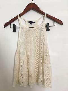*Never worn* sheer cream crochet crop tank