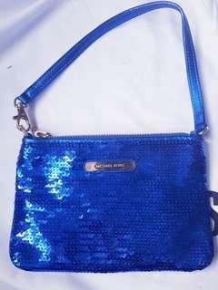 Beautiful Authentic Michael Kors Royal Vibrant Blue Sequins Wristlet handbag