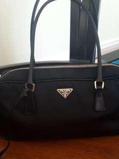 Genuine Authentic Prada Boston Classic Black Saffiano Leather trim, handles and bottom / Nylon Handbag