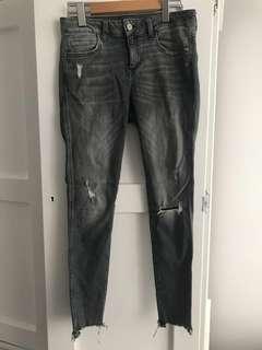 Zara grey distressed skinny jeans