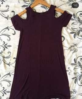 F21 maroon offshie dress