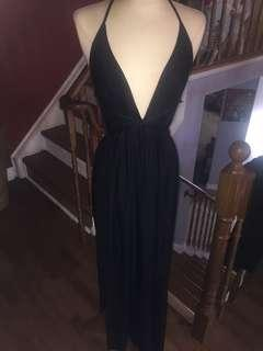 Black double slit dress