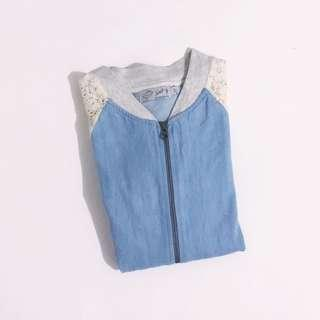 ♥ Just G Light Blue Denim with Crochetted Side Sleeves