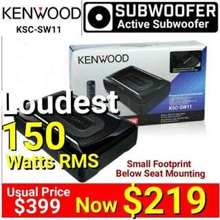 Kenwood 150Watts RMS Subwoofer + built-in  Amplifier(Active Subwoofer) - . Model: KSC-SW11.  Usual Price: $399.Special Offer:$ 219 ( Brand New In Box & Sealed + 30 Days Warranty) whatsapp 85992490 to Pickup Today