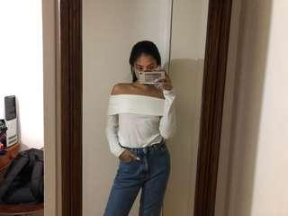 White Ribbed Off The Shoulder Top