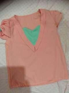 Peach V neck Crop Top