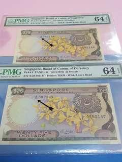 $25-singapore orchid 2pcs running .Yellow papet A/38-592146-A/38-592147