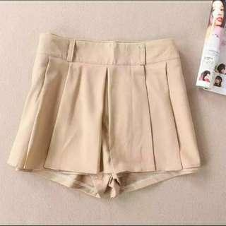 Sale! 100%new 杏色白摺斯文裙褲 khaki pleated skirt-pants