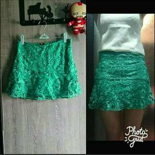 (new) 綠色lace斯文A字短裙 green lace skirt
