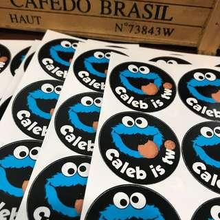 Cookie Monster Sesame Street sticker label for birthday party goodie bag