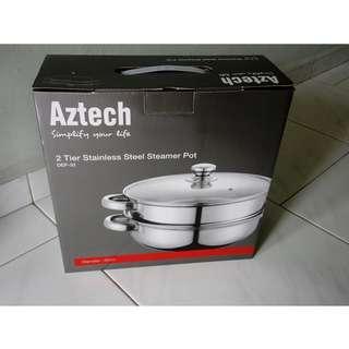 Aztech DEP-33 2-tier stainless steel steamer pot