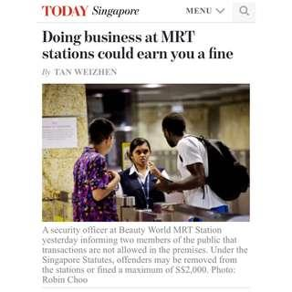 EXIT GANTRY TO DEAL: Doing business at MRT stations could earn you a fine