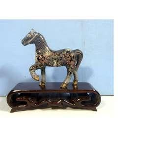 Vintage cloisonne horse hand crafted in Beijing retire wood stand circa 1960