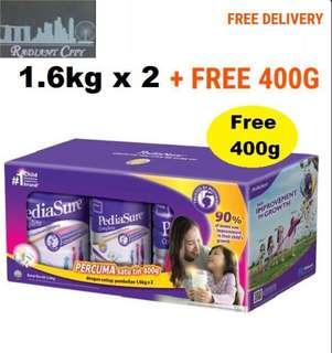 Pediasure Vanilla 1.6kg x 2 Tins + FREE 400g  (Made in Singapore For Malaysia)