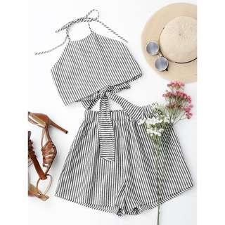 Halter Striped Two Piece Suit