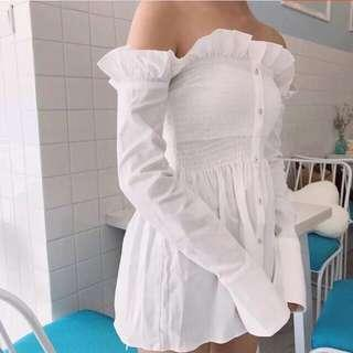 White Smocked Off Shoulder Top