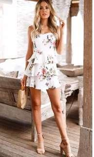 Floral Ruffled Zip Back Dress
