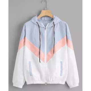 Zigzag Three Tone Windbreaker Hoodie