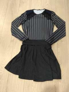 (SET) Zara pinstripe top & skater skirt