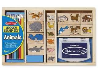 Animals wooden stamp set