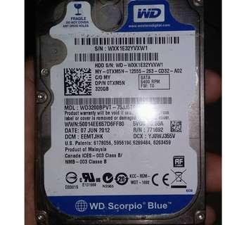 Western Digital 320gb HDD for laptop
