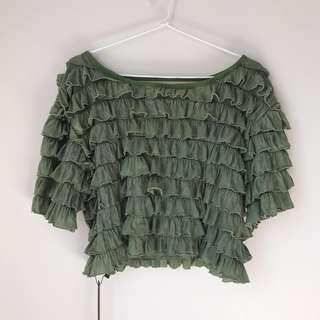 *NEW* below back ruffled layer top size S