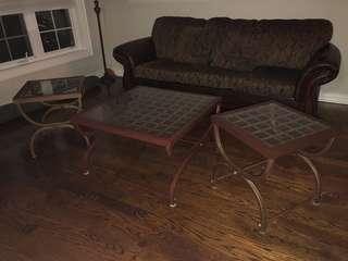 3 brown tables (coffee and 2 side tables)