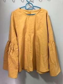 Mustard Blouse Bell Sleeves