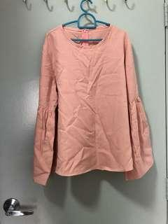 Soft Pink Blouse Bell Sleeves
