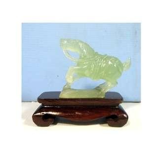 Hand carved xui jade 'Tang' horse on wood stand retired unused from old stock