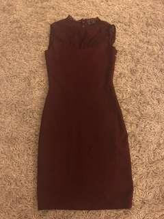 Zara Trafaluc Maroon Lace Dress