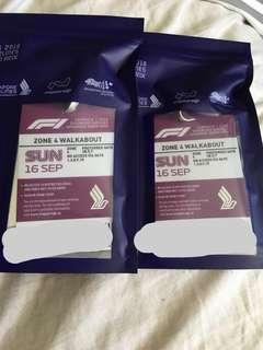 F1 tickets zone 4 walkabout Sun 16 SEP