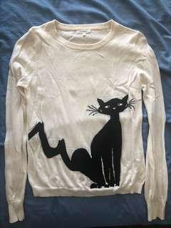 Size Medium white and black cat jumper