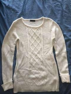 Size medium white knit sweater