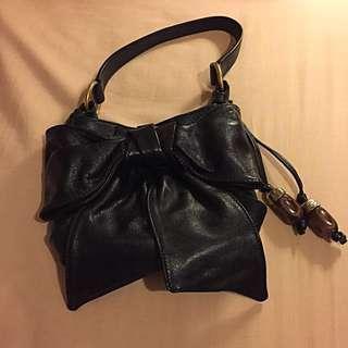 Auth Yves Saint Laurent YSL Sac Bow Leather Ribbon Shoulder Bag