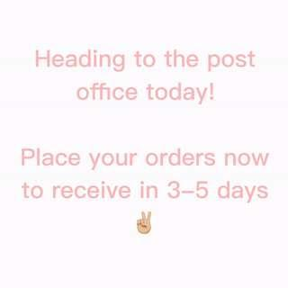 3-5 business days and your new items will be with you ✨ mention this post to receive a free gift with your order ✨