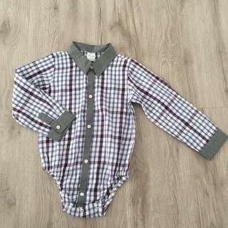 Baby Boy Checked Shirt Romper