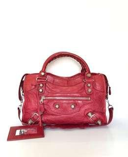 Balenciaga City Red GSHW 2011 | in Very Good Condition | with Bag, Strap, Mirror and Replacement Dustbag