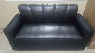 Black Leather Couch Sofa