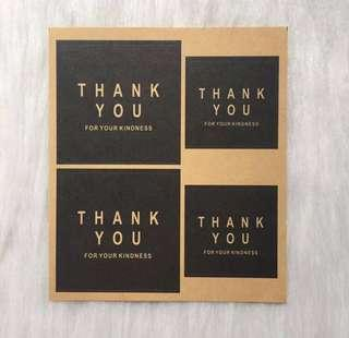 BN Black Square Thank You Sticker Seal