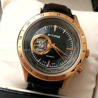全自動金鋼機械陀飛輪真皮手錶 Original Brand New Automatic Gold Steel Mechanical Tourbillon Genuine Leather Watch