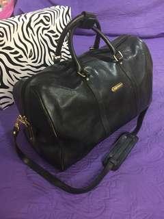 Auth Polo Ralph Lauren Black Leather Duffle Bag