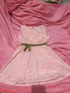 Korean peach dress