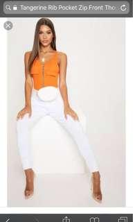 Tangerine Rib Pocket Zip body suit