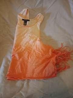 Forever 21 orange tie dye tassel shirt